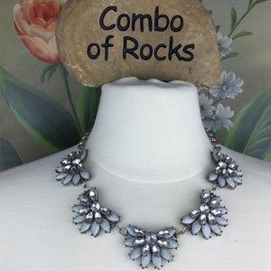 Jewelry - Rhinestone Faux Diamonds Blue Statement Necklace